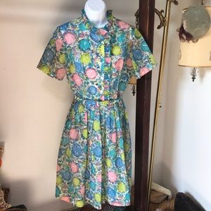 Vtg 1950s Mode O' Day California Dress w/ Belt